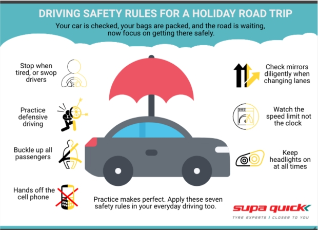 Driving safety rules for a holiday road trip