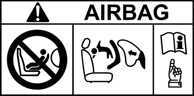 Honda airbag warning label: Never use a rearward facing child restraint on a seat protected by an active airbag in front of it.