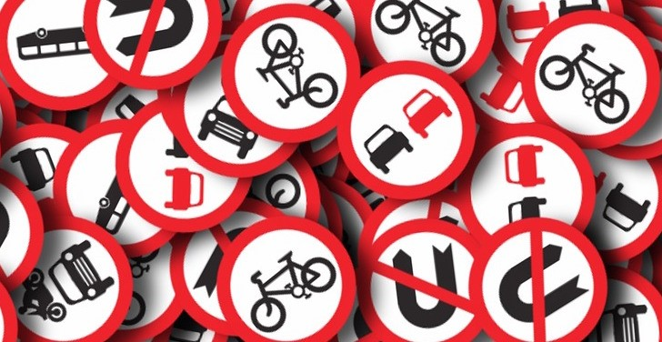 Assortment of round, regulatory road signs