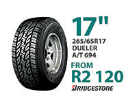 Tyre specials at Supa Quick: 265/65R 17-inch Dueler A/T 694. Price: from R2,120