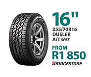 Tyre specials at Supa Quick: Bridgestone 255/70R 16-inch Dueler A/T 697. Price: from R1,850